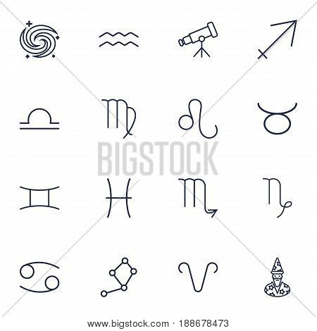 Set Of 16 Astrology Outline Icons Set.Collection Of Leo, Aries, Libra And Other Elements.