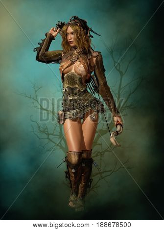 3D computer graphics of a female archer in fantasy style