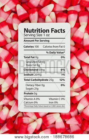 Candy Corn is a unhealthy snack Candy Corn with text of a nutrition label on a card