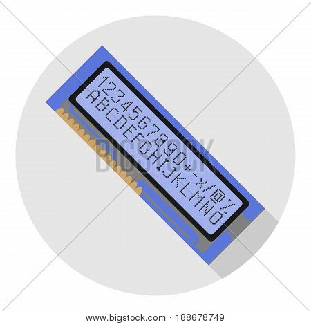 Vector image of an electronic display on a round background