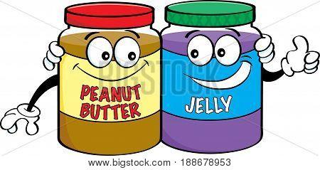Cartoon illustration of peanut butter and jelly jars.