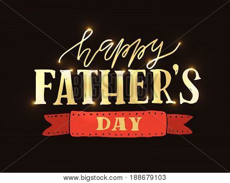 'happy Fathers Day' Lettering Typography On Textured Background For Postcard/card/invitation. Greeti