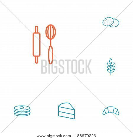 Set Of 6 Cooking Outline Icons Set.Collection Of Rolling Pin, Pancakes, Croissant And Other Elements.