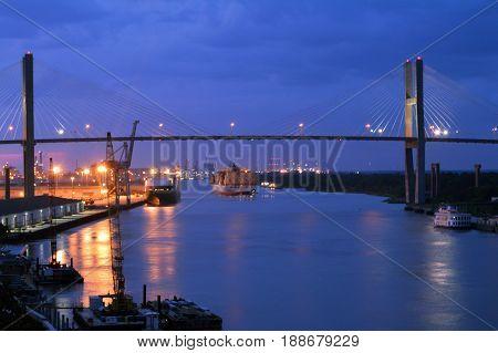 Night view of the Savannah River and The Talmadge Memorial Bridge