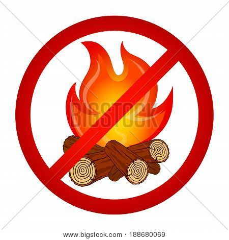 Kindle bonfire prohibited sign vector illustration icon