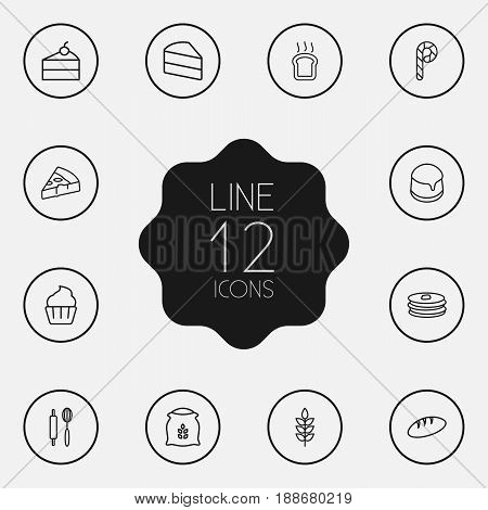 Set Of 12 Bakery Outline Icons Set.Collection Of Cupcake, Pancakes, Cake And Other Elements.
