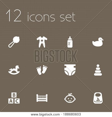 Set Of 12 Baby Icons Set.Collection Of Nappy, Trace, Maraca And Other Elements.