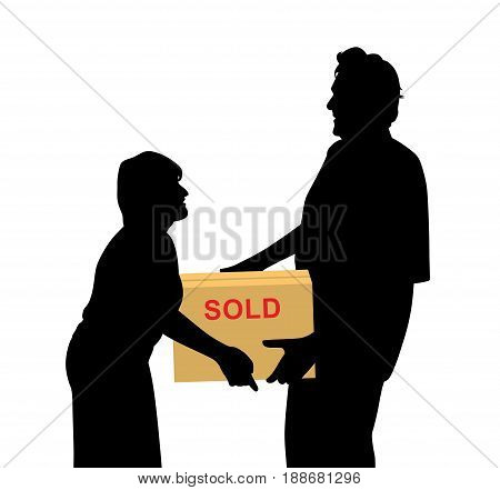 Happy buyers woman and man carrying something purchased and packed in a box