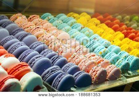 Colored cookies French macaroons series, tasty variety