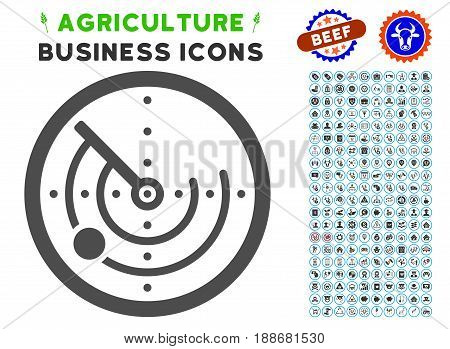 Radar gray icon with agriculture business pictogram clipart. Vector illustration style is a flat iconic symbol. Agriculture icons are rounded with blue circles.