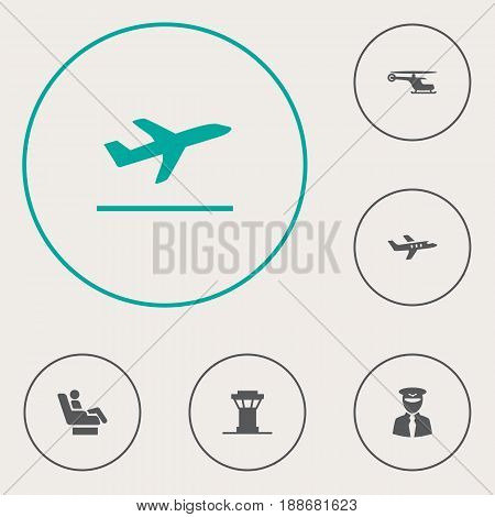 Set Of 6 Airplane Icons Set.Collection Of Leaving, Vip, Chopper And Other Elements.