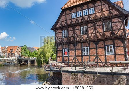 LUNEBURG, GERMANY - MAY 21, 2017: Abtsmuele building in the historic harbor of Luneburg, Germany
