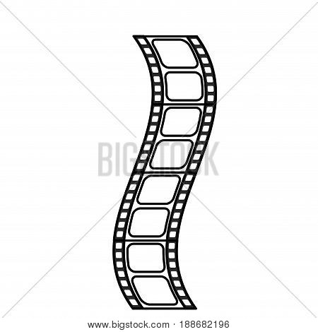 line filmstrip to studio scene in projection, vector illustration