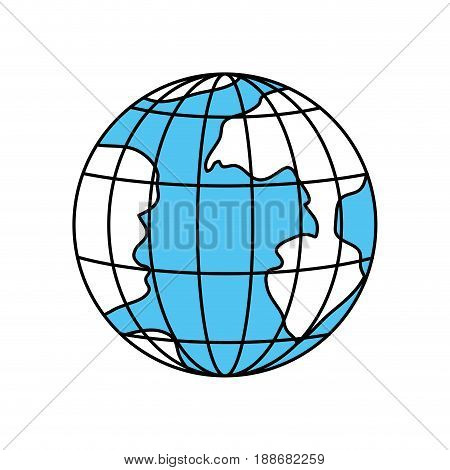 color sectors silhouette of earth globe with meridians and parallels vector illustration