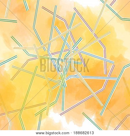 seamless pattern with orange juice and scattered tubules for cocktail