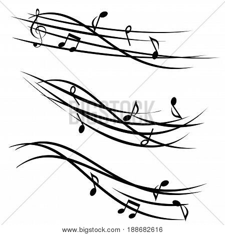 Ornamental stave with music notes on white background