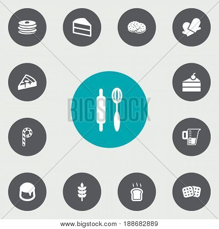 Set Of 13 Cooking Icons Set.Collection Of Shortcake, Pepperoni, Potholders And Other Elements.