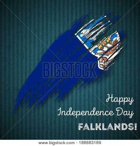 Falklands Independence Day Patriotic Design. Expressive Brush Stroke In National Flag Colors On Dark