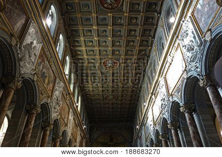 ROME ITALY - MAY 27 2017: Interior of the San Marco minor basilica located in the Piazza di San Marco next to Piazza Venezia built in 336 by Pope Mark after some restoration the church was rebuilt by Pope Gregory IV in 833