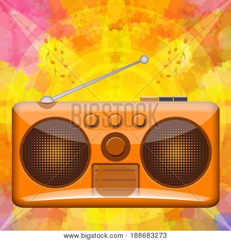 Burning music background with retro stereo boombox