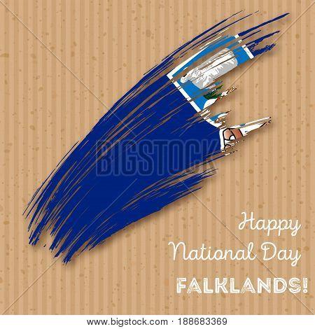 Falklands Independence Day Patriotic Design. Expressive Brush Stroke In National Flag Colors On Kraf