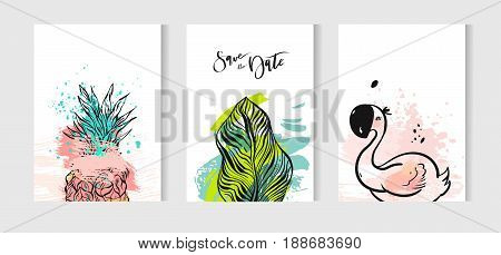 Hand drawn vector abstract summer time cards set with pink flamingo, tropical palm leaves, pineapple isolated on white background.Hipster wedding, birthday, decoration, save the date, logo, sign, stamp
