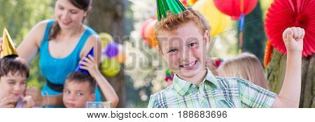 Boy with party beanie satisfied with his party