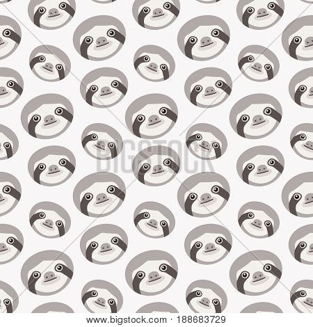Sloths Seamless vector pattern with flat animals swatch inside