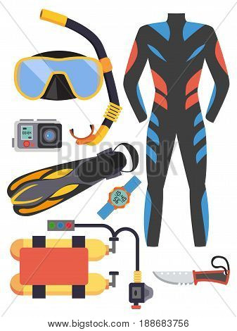 Snorkeling and scuba diving set of elements. Scuba-diving gear isolated. Diver wetsuit, scuba mask, snorkel, fins, regulator dive icons. Underwater activity diving equipment and accessories