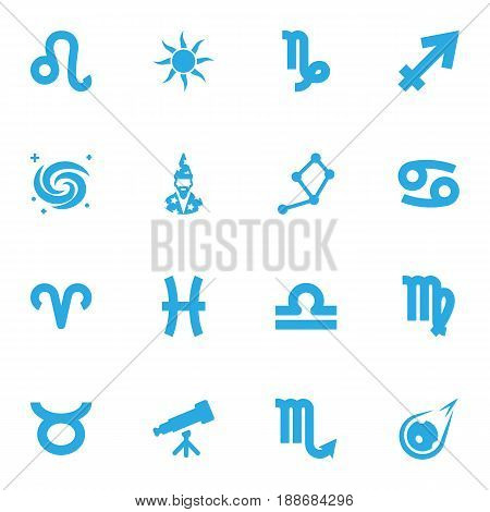 Set Of 16 Horoscope Icons Set.Collection Of Fishes, Archer, Lion And Other Elements.