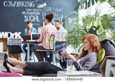 Woman Taking Business Rest Break