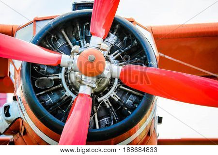 Stopper airplaine propeller. Airplane on the ground
