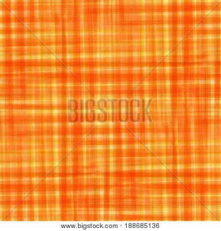 Orange tartan fabric texture. Seamless pattern. Watercolor illustration.