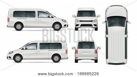 White car vector template for car branding and advertising. Isolated wagon set. All layers and groups well organized for easy editing and recolor. View from side front back top.