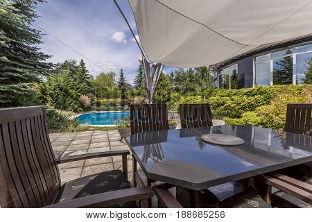 Outdoor Furniture Set And Swiming Pool