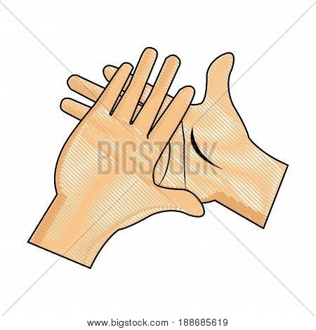 drawing hand man clap gesture icon vector illustration