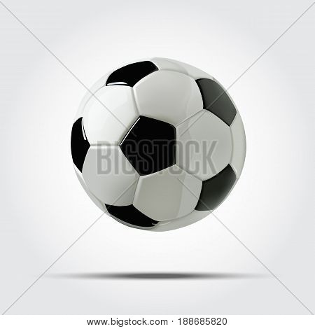 Realistic soccer ball or football ball on white background. 3d vector soccer ball