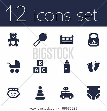 Set Of 12 Baby Icons Set.Collection Of Abc Block, Breastplate, Milk And Other Elements.