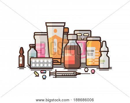 Pharmacy, pharmacology, drugstore banner. Modern medicine, hospital, healthcare concept. Vector illustration isolated on white background