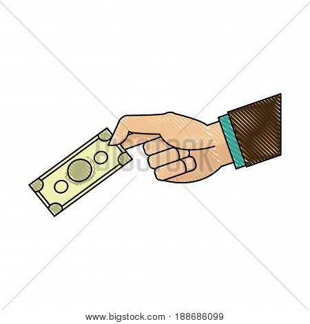 drawing hand man business with banknote money image vector illustration