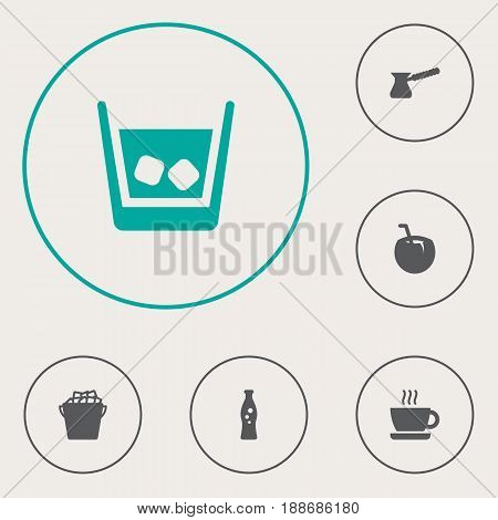 Set Of 6  Icons Set.Collection Of Ice, Fizzy Water, Fridge And Other Elements.