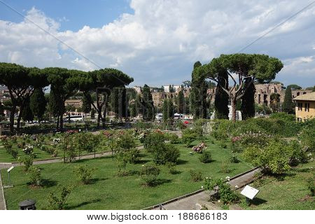 ROME ITALY - MAY 25 2017: Rome Rose Garden public park located next to the Circus Maximus on the Aventine Hill
