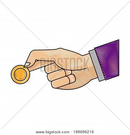 drawing hand man business with coin money icon vector illustration
