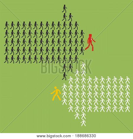 Two groups of people crowded in arrow symbol. Way to success business concept. Leadership competitor concept. Vector illustration