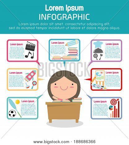 Education info-graphic template design, Education concept vector Illustration.