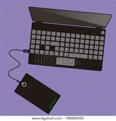 Laptop connected to power bank. Top view. Communication technology. Vector illustration.