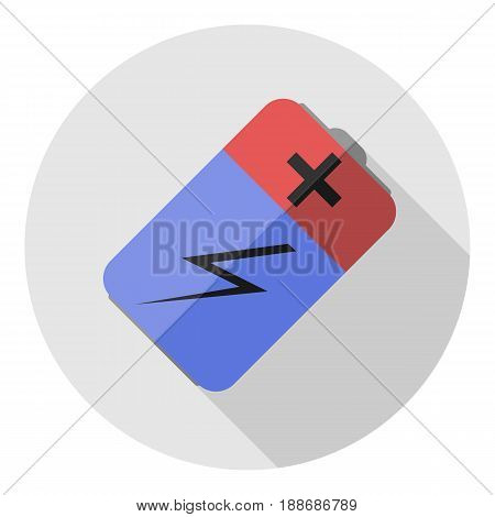 Vector image of a battery on a round background