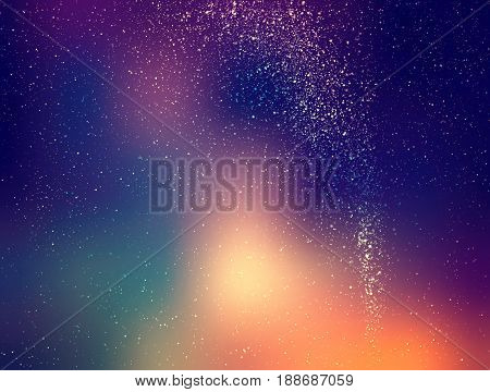 Starry sky illustration, stars and milky way on colored night sky with clusters of stars, retro and vintage illustration