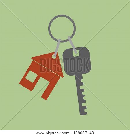 Vector icon key icon from the house. Flat design style. Vector illustration.