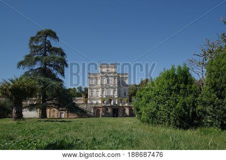 Villa Doria Pamphili public park in Rome the Casino del Bel Respiro building